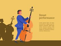 Street musician. Man playing the double bass. Street performance stock illustration