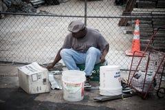 Street musician in Manhattan Stock Photos