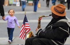 Street musician in New York City Royalty Free Stock Photo