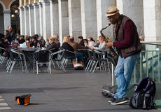 Street musician performing in Massena square, Nice, France stock images