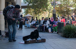 Street musician. Performing on the streets of Perth, Western Australia Royalty Free Stock Image