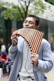 The street musician played pan flute in taipei city Stock Images