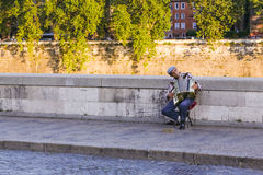 A street musician playing the accordion Royalty Free Stock Photos