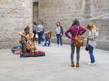Street musician playing a cello in Barcelona Stock Photography