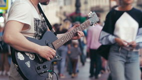 Street Musician Playing a Guitar stock video footage