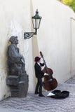 Street musician playing kontrobase Stock Photography