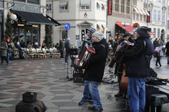 STREET MUSICIAN PLAYING MUSIC . Stock Images