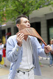 Street musician playing the pan flute in taipei city Royalty Free Stock Photos