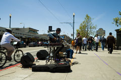 Street musician playing in San Francisco. Royalty Free Stock Photos