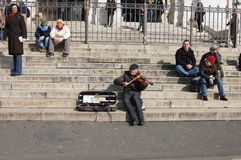 Street Musician in Paris stock photography