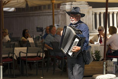 Street Musician Plays the Accordion in Verona Royalty Free Stock Photography