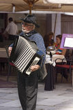 Street Musician Plays the Accordion in Verona Stock Images