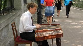 Street musician stock video footage