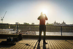 Street musician singer Stock Photography