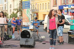 Street musicians and artists. Musical staff of the Jewish community in a festive Saturday the streets of Kiev royalty free stock photo