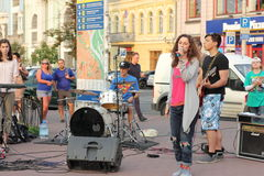 Street musicians and artists. Musical staff of the Jewish community in a festive Saturday the streets of Kiev stock photos