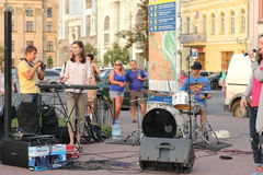 Street musicians and artists. Musical staff of the Jewish community in a festive Saturday the streets of Kiev stock images