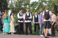 Street musicians and artists. Musical staff of the Jewish community in a festive Saturday the streets of Kiev royalty free stock images
