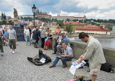 Street musicians bands on Charles Bridge in Prague stock photography