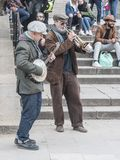 Street musicians at barcelona stock photo