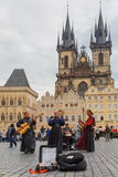Street musicians (Buskers) in Prague, Czech Republic Royalty Free Stock Photography