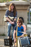 Street musicians in the center of city. Stock Photo