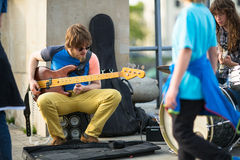 Street musicians in the center of city. Stock Image