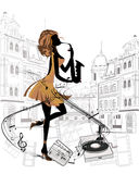 Street musicians in the city. Girl with saxophon stock illustration