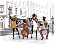 Street musicians in the city. Jazz band. Hand drawn vector illustration with retro buildings stock illustration