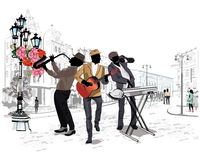 Street musicians in the city. Series of the streets with musicians in the old city stock illustration
