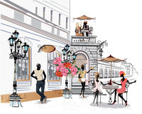 Street musicians in the city. Series of the streets with musicians in the old city vector illustration