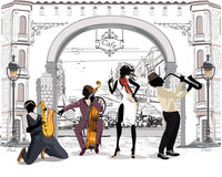Street musicians in the city. Jazz band. Hand drawn vector illustration with retro buildings royalty free illustration