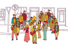 Street musicians doodles ink orchestra band Stock Images