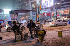 Street Musicians in  Downtown during a snowfall in Toronto Stock Photos