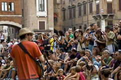 Street musicians festival. An artist exhibition in the Buskers festival of Ferrara (Italy), the biggest event in the world dedicated to  street arts Stock Photos