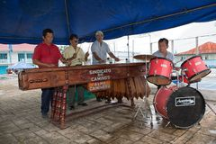 Street musicians in Flores Guatemala royalty free stock photos