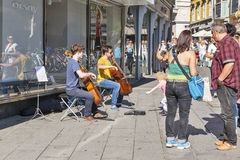 Street musicians in Graz, Austria. Royalty Free Stock Images
