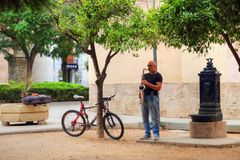 Street musicians in Historic. Town in Valencia stock images