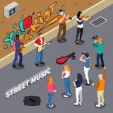 Street Musicians Isometric Illustration Royalty Free Stock Photo
