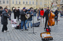 Street musicians. Jazz Orchestra on the streets. Travel on March 2013. Street musicians. Jazz Orchestra on the streets. Travel on March 6, 2013 Stock Photos