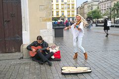 Street musicians in Krakow royalty free stock photography