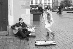 Street musicians in Krakow royalty free stock images