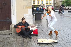 Street musicians in Krakow stock images
