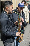Street musicians make music, Münster, Germany Royalty Free Stock Images