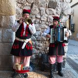 Street musicians in old town of Krakow Royalty Free Stock Image