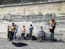 Street musicians in Paris Stock Image