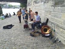Street musicians in Paris Stock Images