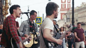 Street Musicians Perform 01 August 2016 stock video footage