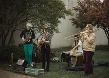 Street musicians performing Royalty Free Stock Photos