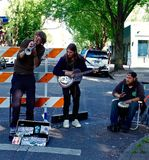 Street Musicians. Performing at Saturday market in Portland Oregon Stock Photos